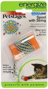 Petstages Cat Toy - OrkaKat Spool with String (2 inch)