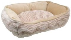 Catit Style Cat Rectangular Reversible Cuddle Bed - Beige Wild Animal
