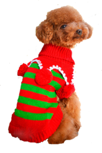 Christmas Clothing - Red Sweater with Dangling Balls (XX-Small, Body Length: 17cm, Chest: 29cm)