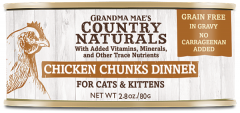 Country Naturals Cat Canned Food - Grain Free - Chicken Chunks in Gravy 2.8oz