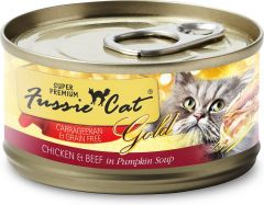 Fussie Cat Gold Label Premium Canned Food - Chicken with Beef in Pumpkin Soup (80g)