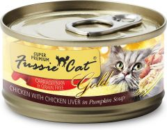 Fussie Cat Gold Label Premium Canned Food - Chicken with Chicken Liver in Pumpkin Soup (80g)